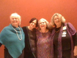 Left to right: Z Budapest, Margot Adler, Selena Fox and Starhawk at Pantheacon '13.